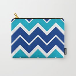 Big Chevron:  Blue + Turquoise Carry-All Pouch
