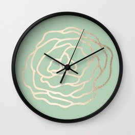 Rose White Gold Sands on Pastel Cactus Green Wall Clock