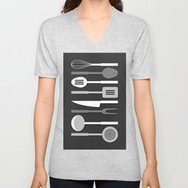 Kitchen Utensil Silhouettes Monochrome II Unisex V-Neck