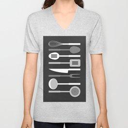 Kitchen Utensil Silhouettes Monochrome II Unisex V-Neck