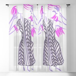 Little Striped Dress - Purple Palette Sheer Curtain