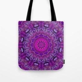 Pink and Purple Glowing Mandala Tote Bag