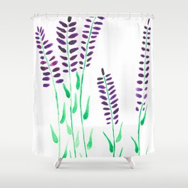 Watercolor Floral Herbs Lavendel Shower Curtain