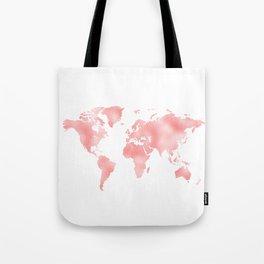 Pink Shiny Metal Foil Rose Gold World Map Tote Bag