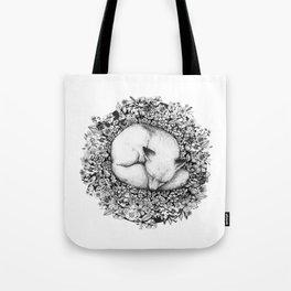 Fox Sleeping in Flowers Tote Bag