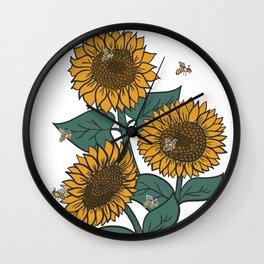 Sunflowers + Bees Wall Clock