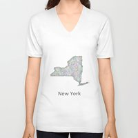 new york map V-neck T-shirts featuring New York map by David Zydd