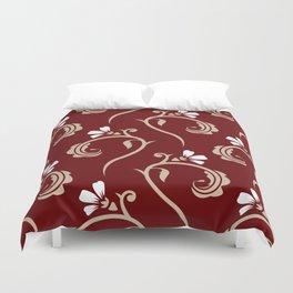 Decorative Floral Pattern 26 - Lonestar Red, Akaroa, White Duvet Cover