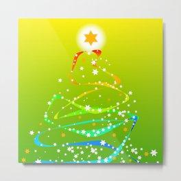 Ribbon and Star Christmas Tree Metal Print