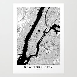 New York City Black and White Map Art Print