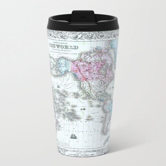Vintage World Map 1855 Metal Travel Mug