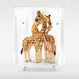 Cute giraffes loving family Shower Curtain