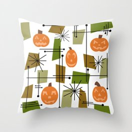 Halloween Mid Century Modern Throw Pillow