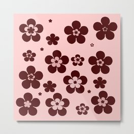 Pink with brown flowers Metal Print