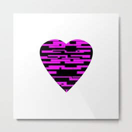 Glitching Hearts — Black and Pink Metal Print
