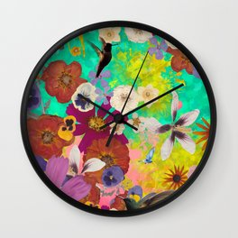 Hummingbird Botanical Collage Wall Clock
