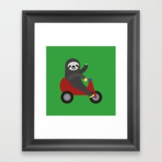 Sloth on Tricycle Framed Art Print