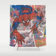 vintage comic spider man  Shower Curtain