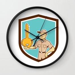 Locksmith Balancing Key Palm Shield Cartoon Wall Clock