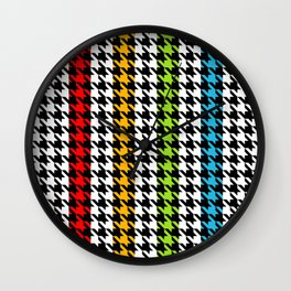 Houndstooth pattern and colorful stripes Wall Clock