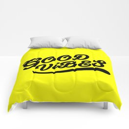 Good Vibes Happy Uplifting Design Black And Yellow Comforters