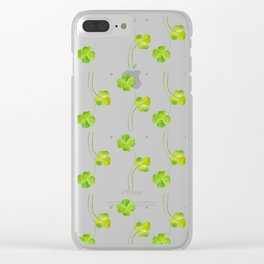 green clover leaf pattern watercolor Clear iPhone Case