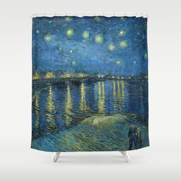 Van Gogh, Starry Night Over The Rhone Artwork Reproduction, Posters, Tshirts, Prints, Bags, Men, Wom Shower Curtain