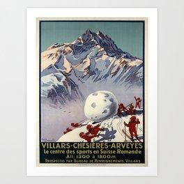 retro vintage villars chesieres arveyes poster Art Print
