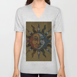 Vintage Celestial Mosaic Sun & Moon Unisex V-Neck
