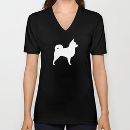 White Longhaired Chihuahua Silhouette Unisex V-Neck
