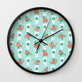 Coffee lovers mint floral bouquet gift idea for sbucks fan java pattern kitchen food Wall Clock