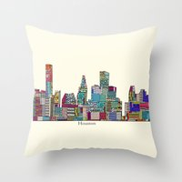 houston Throw Pillows featuring Houston by bri.buckley