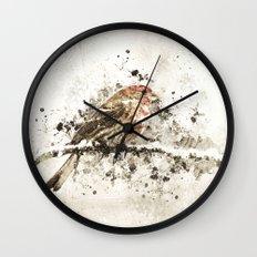House Finch Splatter Wall Clock