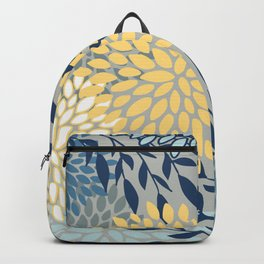 Festive, Floral Prints and Leaves, Yellow, Gray, Navy Blue, Teal Backpack
