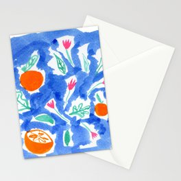 Oranges and Flowers in Blue Stationery Cards