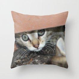 Peeking eyes Throw Pillow