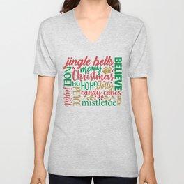 Merry Christmas Word Art Unisex V-Neck