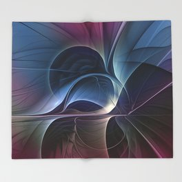 Fractal Mysterious, Colorful Abstract Art Throw Blanket