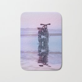 Where the Journey  begins Motorcycle at the Water Sunset Bath Mat