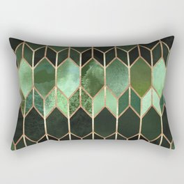 Stained Glass 5 - Forest Green Rectangular Pillow