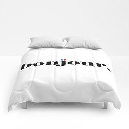 bonjour flag Comforters