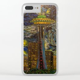Dedication to Van Gogh: Seattle Starry Night Clear iPhone Case