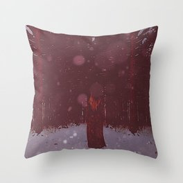 the Woman in Red Throw Pillow