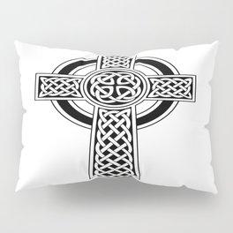 St Patrick's Day Celtic Cross Black and White Pillow Sham