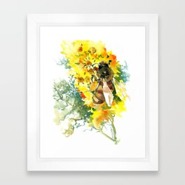 Honey Bee and Flower yellow honey bee design honey making Framed Art Print