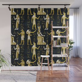 Egyptian Gods Gold and white on dark glass Wall Mural