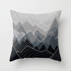 Grey Mountains Throw Pillow