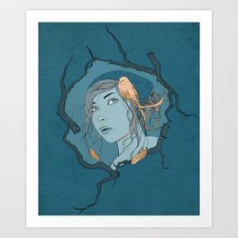 Girl with Bird Art Print