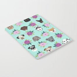 Dogs and cats pet friendly floral animal lover gifts dog breeds cat ladies Notebook