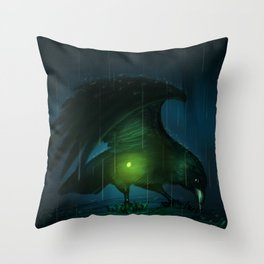 The Crow and the Firefly Throw Pillow